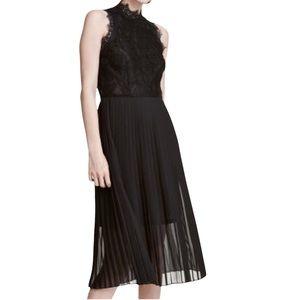 H&M Black Pleated Lace Midi Dress Size 4